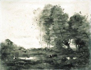 Jean-Baptiste-Camille Corot - An extensive wooded landscape with cows