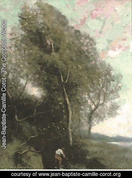 Figure in a wooded landscape