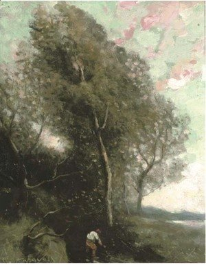 Jean-Baptiste-Camille Corot - Figure in a wooded landscape