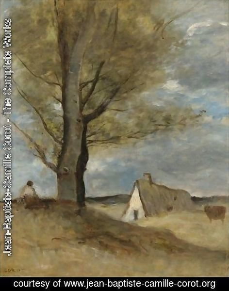 Jean-Baptiste-Camille Corot - Study Of A Landscape With Figure