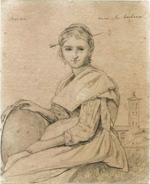 Portrait Of Rosa Holding A Tambourine, A Church In The Background