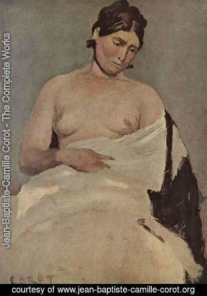 Jean-Baptiste-Camille Corot - Sitting woman with bare breasts