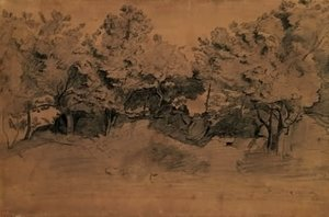 Jean-Baptiste-Camille Corot - Landscape of Royat, study of trees