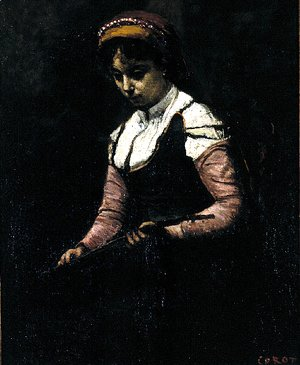 Jean-Baptiste-Camille Corot - Girl with Mandolin