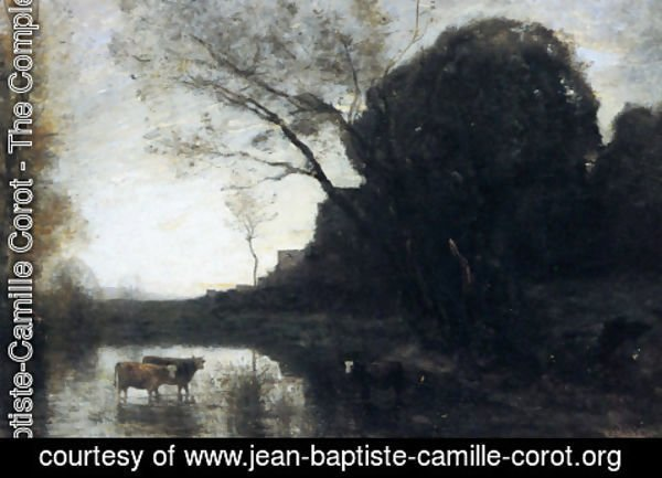 Jean-Baptiste-Camille Corot - The Ford under the Bended Tree