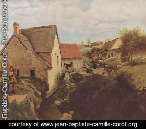 Jean-Baptiste-Camille Corot - Cabins with Mill on the River Bank