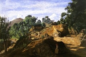 Jean-Baptiste-Camille Corot - A Chestnut Wood among the Rocks