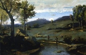 Jean-Baptiste-Camille Corot - Roman Countryside Rocky Valley with a Herd of Pigs 2