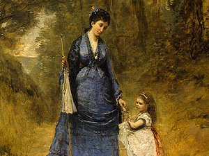 Jean-Baptiste-Camille Corot - Madame Stumpf and Her Daughter