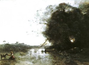 Jean-Baptiste-Camille Corot - The Swamp near the Big Tree and a Shepherdess