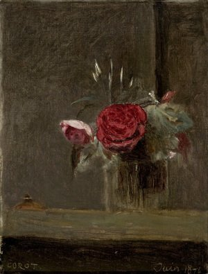 Jean-Baptiste-Camille Corot - Roses in a Glass