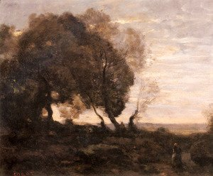 Jean-Baptiste-Camille Corot - Twisted Trees on a Ridge (Sunset)