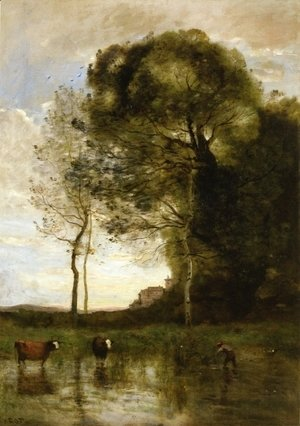 Jean-Baptiste-Camille Corot - Banks of a Pond in Normandy