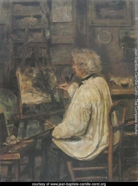 Corot Painting in the Studio of his Friend, Painter Constant Dutilleux