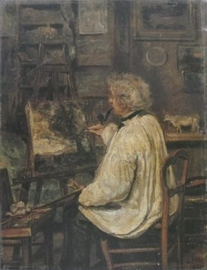 Jean-Baptiste-Camille Corot - Corot Painting in the Studio of his Friend, Painter Constant Dutilleux