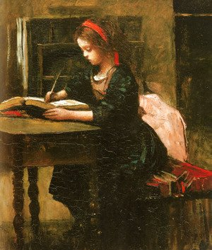 Jean-Baptiste-Camille Corot - Young Girl Learning to Write