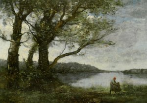 Jean-Baptiste-Camille Corot - Three Trees with a View of the Lake