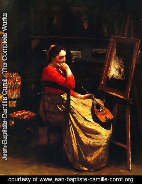 Jean-Baptiste-Camille Corot - Artist's Studio, Young Woman with a Mandolin